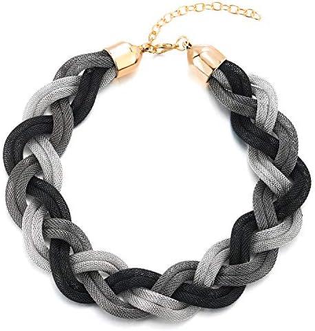 COOLSTEELANDBEYOND Gold Schwarz Statement Halskette Anhänger, Geflochtene Hohl Kabel Große Lätzchen Halsband Choker, Neuer, Abschlussball
