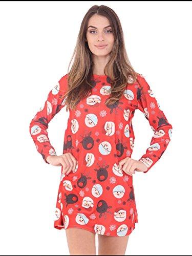 8 Dress Novelty Xmas Christmas 22 Santa Ladies XL 16 Bird Deer Santa Deer Women Printed Reindeer 18 wRqvCxz