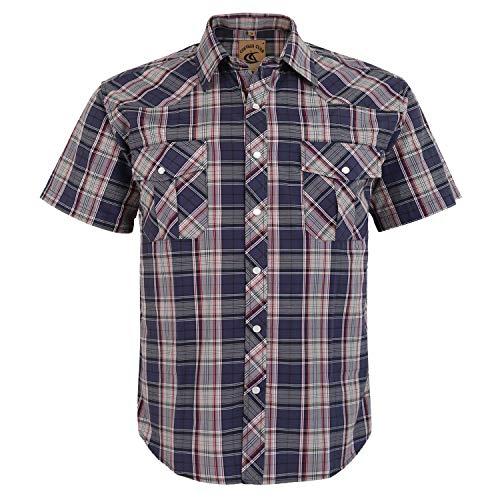 Coevals Club Men's Snap Button Down Plaid Short Sleeve Work Casual Shirt (Gray Plaid #26, L)