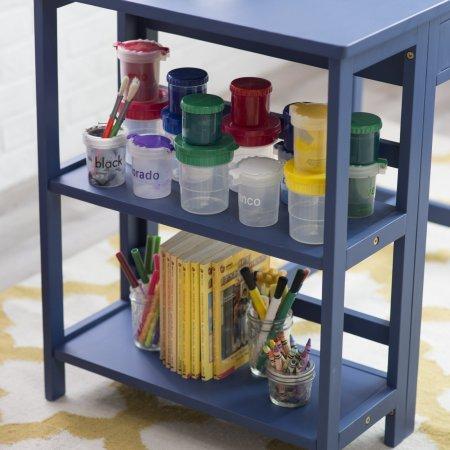 Writing Work Task Desk and Chair Set, Sturdy Rubberwood Construction, Bookshelves, Rectangle Shape, Suitable for Little Children, Kids Room, Student, Navy Blue Finish