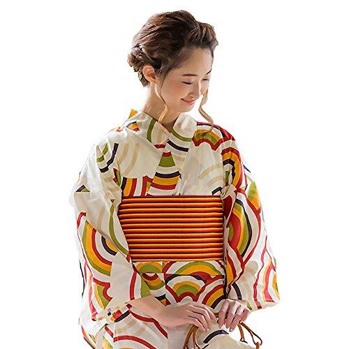 住所イヤホン確率[ 京都きもの町 ]女性浴衣3点セット「青海波」浴衣+帯+下駄フリーサイズ_GT-F_
