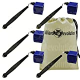 Set of 5 Blue Pocket Chalk Holders with Billiard Evolution Drawstring Bag