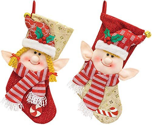Hanna's Handiworks Peppermint Elf Couple Rosy Red 18 x 10 Fabric Christmas Stockings Set of -