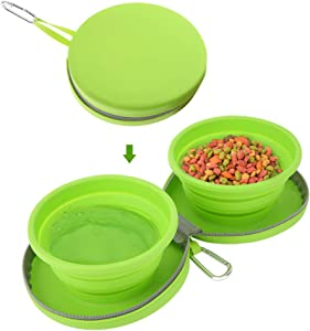Pawaboo Collapsible Dog Travel Bowls, Foldable Expandable Silicone Feeding Bowl for Cat, Portable Pet Watering Dish for Traveling, Camping, Hiking, Walking