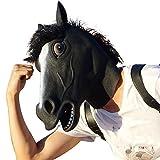 head horse mask - Creepyparty Deluxe Novelty Halloween Costume Party Latex Animal Black Horse Head Mask