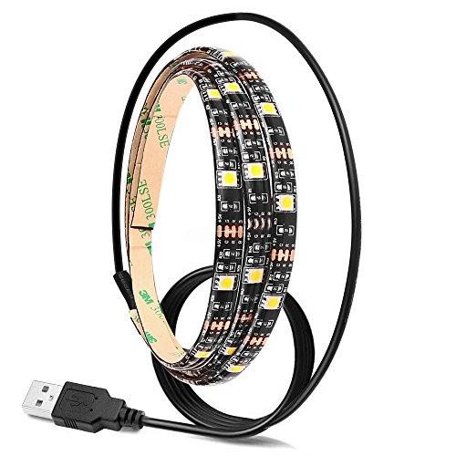 Lemonbest 2m 6.5ft Resin Flexible Cool White USB LED Strip Lights 5050smd DC 5V Waterproof for Backlight Wardrobe Lighting (Cool White)