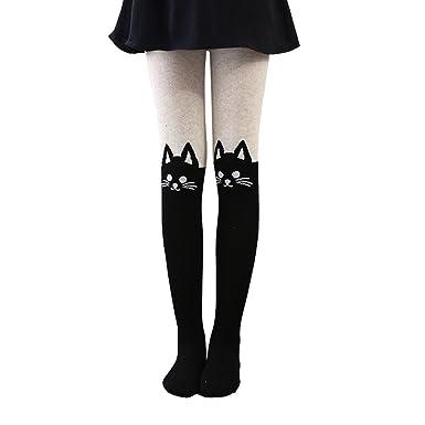 amazon com girls fine knit tights soft cotton cat charactar