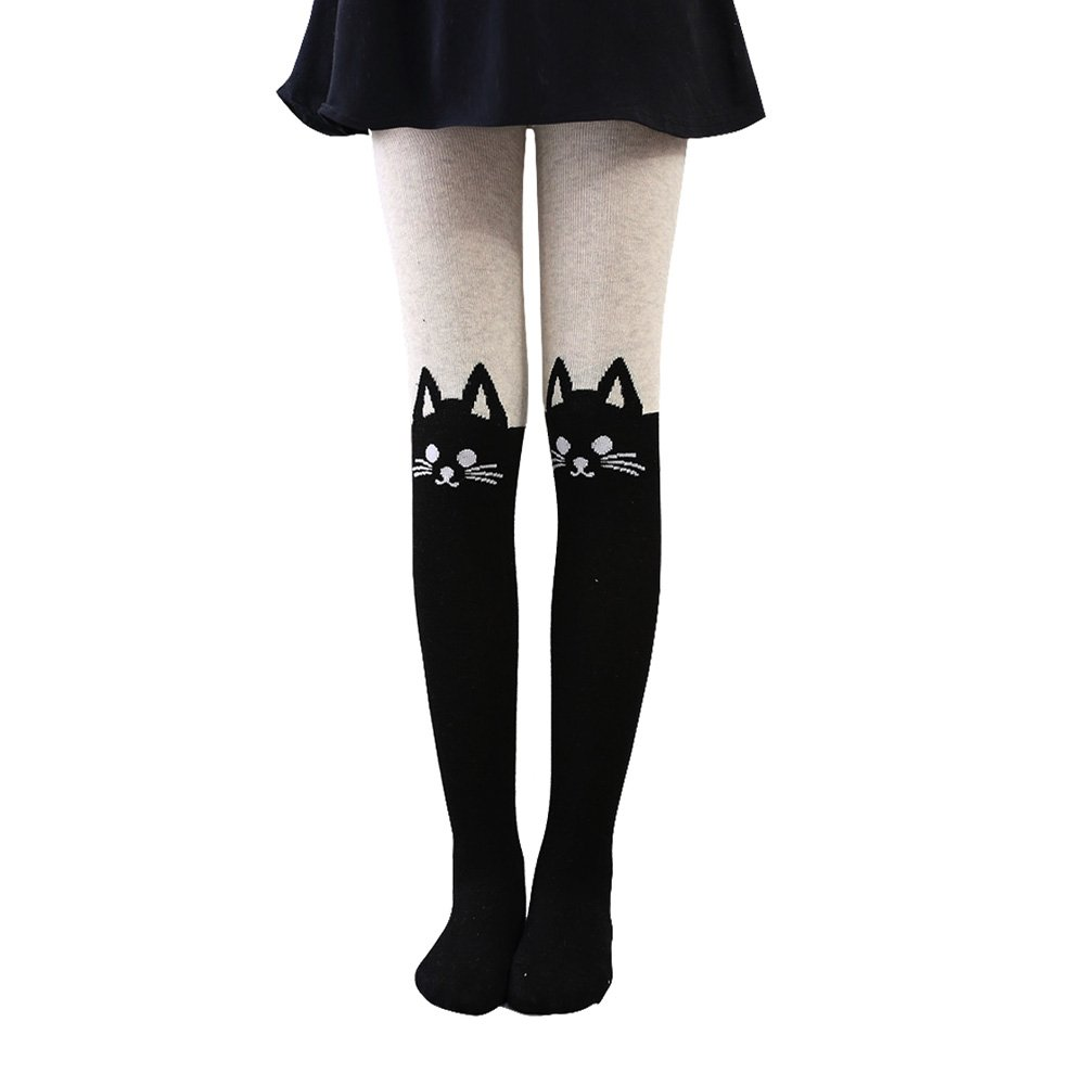 Dreamowl Girls Fine-Knit Tights Soft Cotton Cat Charactar Leggings