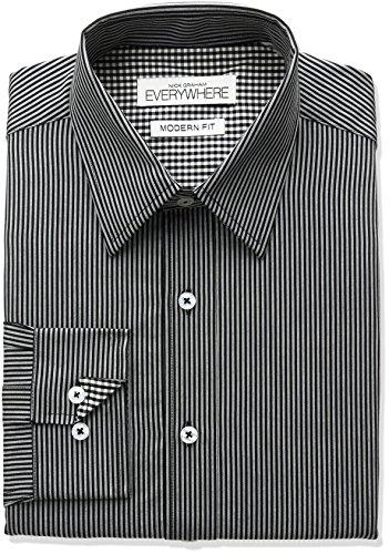Nick Graham Everywhere Men's Pencil Stripe Dress Shirt, Black, 16