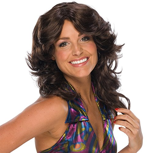 Charlie's Angels Costumes (MyPartyShirt Brown Feathered Wig Charlie's Angels Retro 70s Disco Costume Womens)