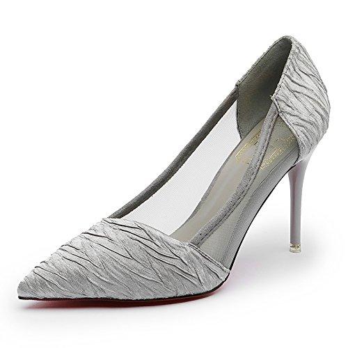 Eu34 Luz Fino El Beige SHOESHAOGE Zapatos Zapatos EU35 Punta con Mujer High Un Temperamento OL Hilado Sandals Femenino Solo De En Heeled De De pBwwxTq
