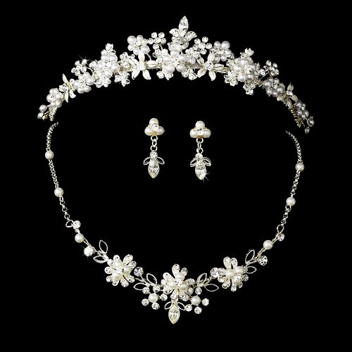 Yasmeen Swarovski Crystal Bridal Tiara Set ()