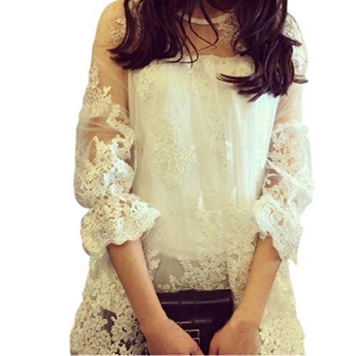 セクシーな透け感レースチュニックきれいめ花柄レディーストップス白ホワイトかわいい華やか結婚式やパーティーにも(ホワイト)