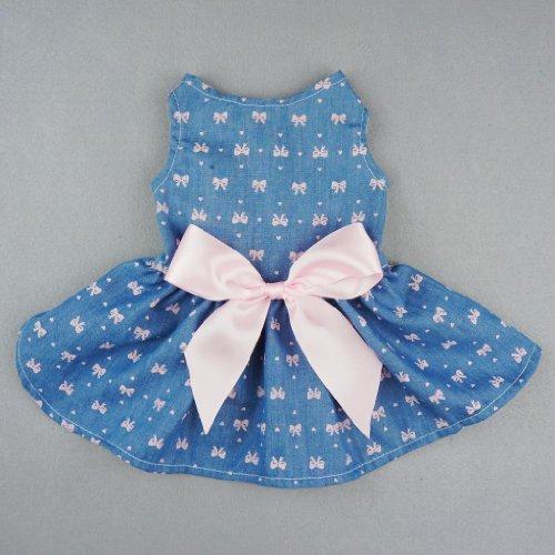 Fitwarm Sweetie Bows Soft Denim Pet Dog Dress Shirts Clothes Vest Apparel, Small