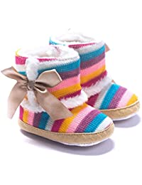 Baby Girl Rainbow Stripe Coral Fleece Snow Boots Shoes With Bowknot