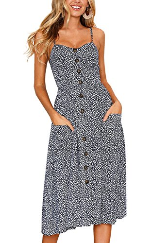 mer Boho Floral Button Down Spaghetti Strappy Midi Dress with Pockets (Vintage Floral Summer Dress)
