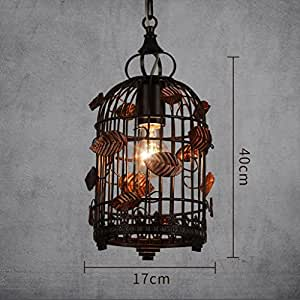 GRH Industrial wind creative iron cage adjustable pendant lamp bedroom living room restaurant flower bird cage pendant lamp ( Size : 1-lamp )