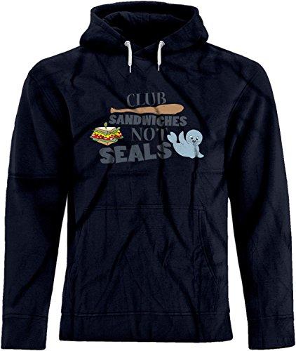 Seals Not Club Sandwiches Hoodie (BSW Men's Club Sandwiches Not Seals Play On Words Premium Hoodie XS Navy)