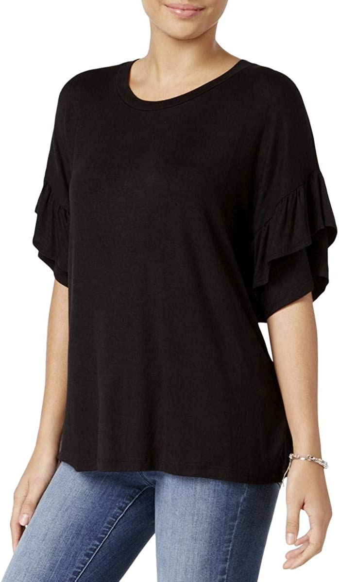 Jamie /& Layla Womens Ruffled Sleeve Basic T-Shirt