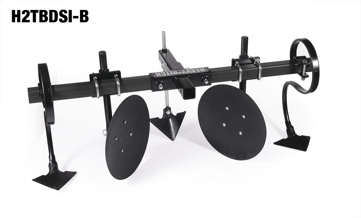 Heavy Hitch 2″ Heavy Wall Steel Toolbar with Garden Bedder / Hiller / Cultivator Attachments (Discs, S-Tines, Row Maker Insert, Satin Black)