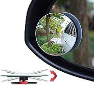 "Ampper Blind Spot Mirror, 2"" Round HD Glass Frameless Convex Rear View Mirror, Pack"