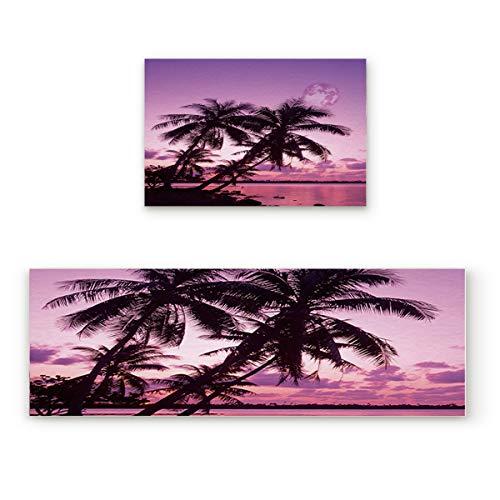 Lightrain Beatiful Coconut Beach and Sky 2 Piece Doormat Hallway Kitchen Runner Rug Carpet (Non-Slip) Rubber Backing Area Rug Set Floor Mat