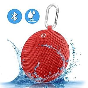 Portable Speaker,Ozzie Wireless Bass Stereo Bluetooth 4.0 Travel Outdoor Sport Speaker Waterproof Bluetooth Speaker Indoor Shower Mini Speaker with Carabiner - Handsfree Calling,5+ Hours (Red)