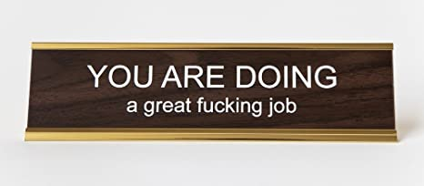 Nice U0026quot;You Are Doing A Great Fcking Jobu0026quot; Engraved Office Nameplate/ Plaque,