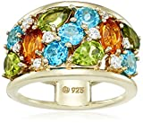 Yellow Gold Plated Sterling Silver Multi-Gemstone with Citrine, Peridot, Blue and Swarovski Zirconia Textured Ring, Size 6