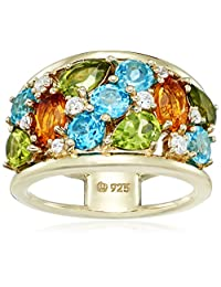 Yellow Gold Plated Sterling Silver Multi-Gemstone with Citrine, Peridot, Blue and Swarovski Zirconia Textured Ring, Size 7