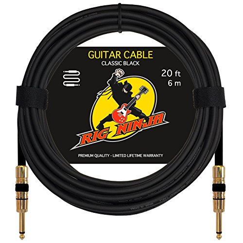 Rig Ninja Guitar Cable For Serious Musicians  Premium Electric Guitar Amp Cord For A Clean Tone To The Amplifier  Durable Instrument Cables  Great Signal Transmission  Low Noise Guitars   Bass Cords