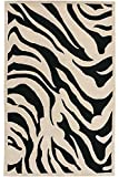 Zebra Area Rug, 2-footx3-foot, BLACK