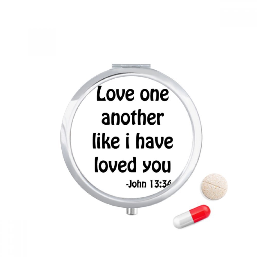 Love One Another Christian Quotes Travel Pocket Pill case Medicine Drug Storage Box Dispenser Mirror Gift