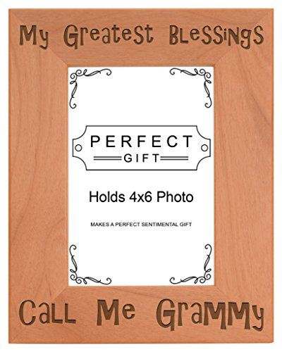 ThisWear Gift for Grandma Blessings Call Me Grammy Natural Wood Engraved 4x6 Portrait Picture Frame Wood