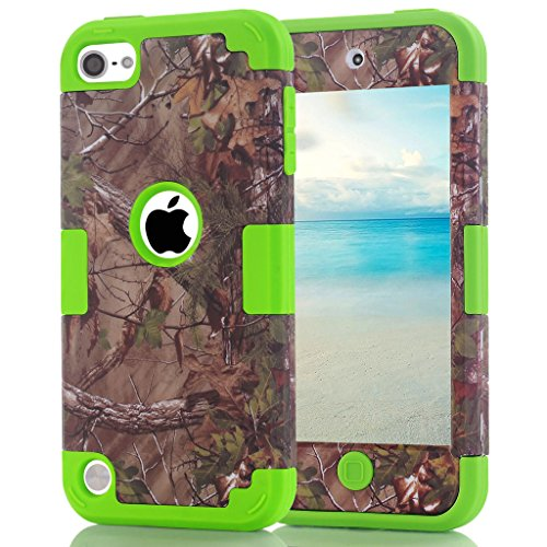 iPod touch 6th Generation Camouflage Case, Hocase Heavy Duty Shockproof Hybrid Silicone Rubber Bumper+Hard Shell Protective Case for iPod touch 5th/6th Generation - Camo / Lawn Green (Touch Camouflage Ipod Case)