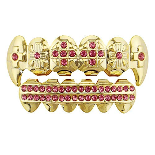 False Teeth Unisex Gold Hip Hop Teeth Grills Plated Gold Teeth Grills Set for Holleween Gift Teeth Grillz Cool Tooth Decoration (Color : -