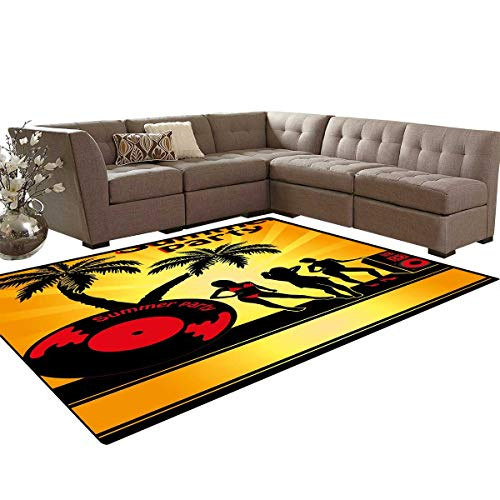 (Beach Kids Carpet Play-mat Rug Summer Party Illustration with Sexy Girl Silhouettes Vinyl Record and Speaker Trees Room Home Bedroom Carpet Floor Mat 6'6