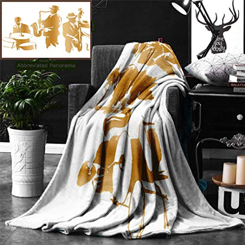 Ralahome Unique Custom Digital Print Flannel Blankets Jazz Music Decor Vintage Style Illustration Jazz Band Playing The Blues Music H Super Soft Blanketry Bed Couch, Throw Blanket 70 x 50 Inches