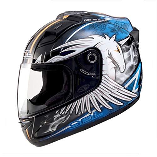 MCJL Motorcycle Helmet Full face Helmet Men and Women Four Seasons Racing Helmet Running Helmet LED Lights Motorcycle Helmet,1,L