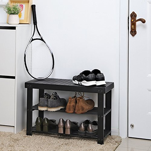 SONGMICS Black Shoe Rack Bench,3-Tier Bamboo Shoe Organizer,Storage Shelf,Holds Up to 264 Lbs, Ideal for Entryway Hallway Bathroom Living Room and Corridor ULBS04H by SONGMICS (Image #2)