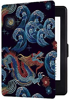 Non Compatible avec Le mod/èle 2018 10/ème g/én/ération Dragon Noir Huasiru Peinture /Étui Housse Case pour Kindle Paperwhite Cover