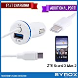 Syrox 10-Pack Type-C Car Charger & Port, Reversible 4 ft Fast Charging for ZTE Grand X Max 2, Samsung Galaxy Note 8, S8 Plus, LG V30, V20, G6, G5, Google Pixel, 6P, Nintendo Switch and All