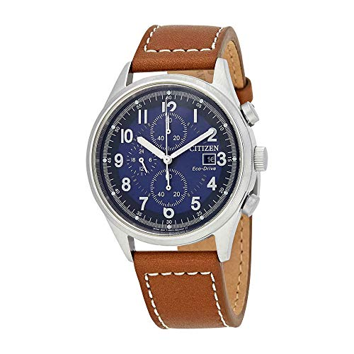 556528c77b1b2f Citizen Men's 'Eco-Drive' Quartz Stainless Steel and Leather Casual Watch,  Color:Brown (.