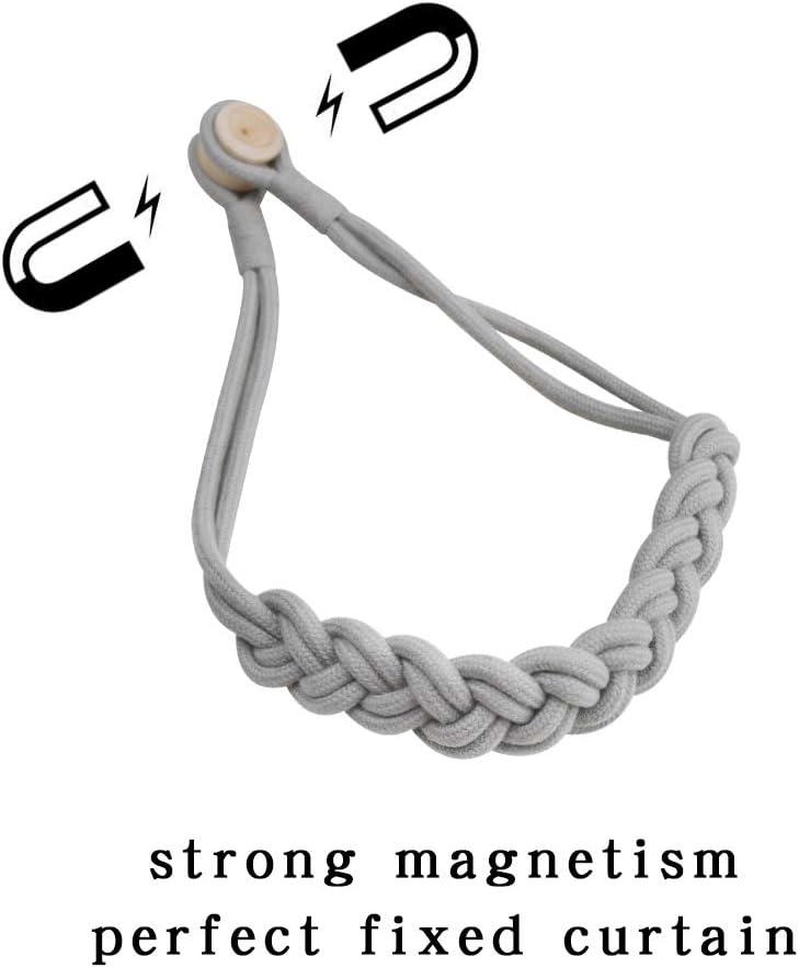 Silver Grey -2Pack BEL AVENIR Magnetic Curtain Tiebacks Hand-Woven Holdbacks Drapery Tie-Backs
