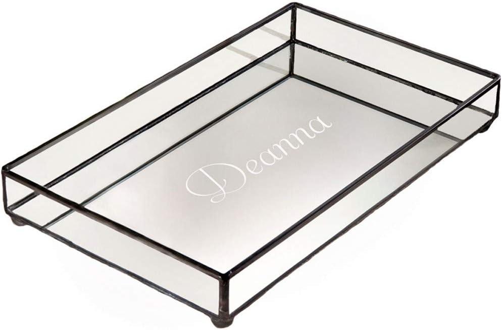 J Devlin TRA 108 ET205 Personalized Glass Jewelry Tray Vanity Organizer Dresser Mirror Bottom
