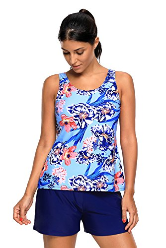 Lcoco&Dream Floral Printed Two Piece Tankini Swimsuits For Women Boyshort Set Blue - Bikini Chlorine Resistant