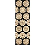 Safavieh Rodeo Drive Collection RD952A Handmade Floral Black and White Wool Runner (2'6