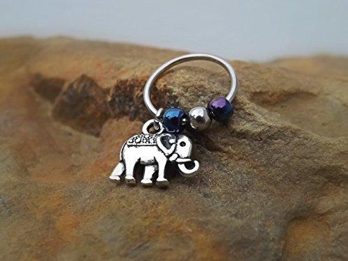 Elephant Cartilage Earring with Purple Blue Bead Captive Hoop Body Jewelry 16ga ()