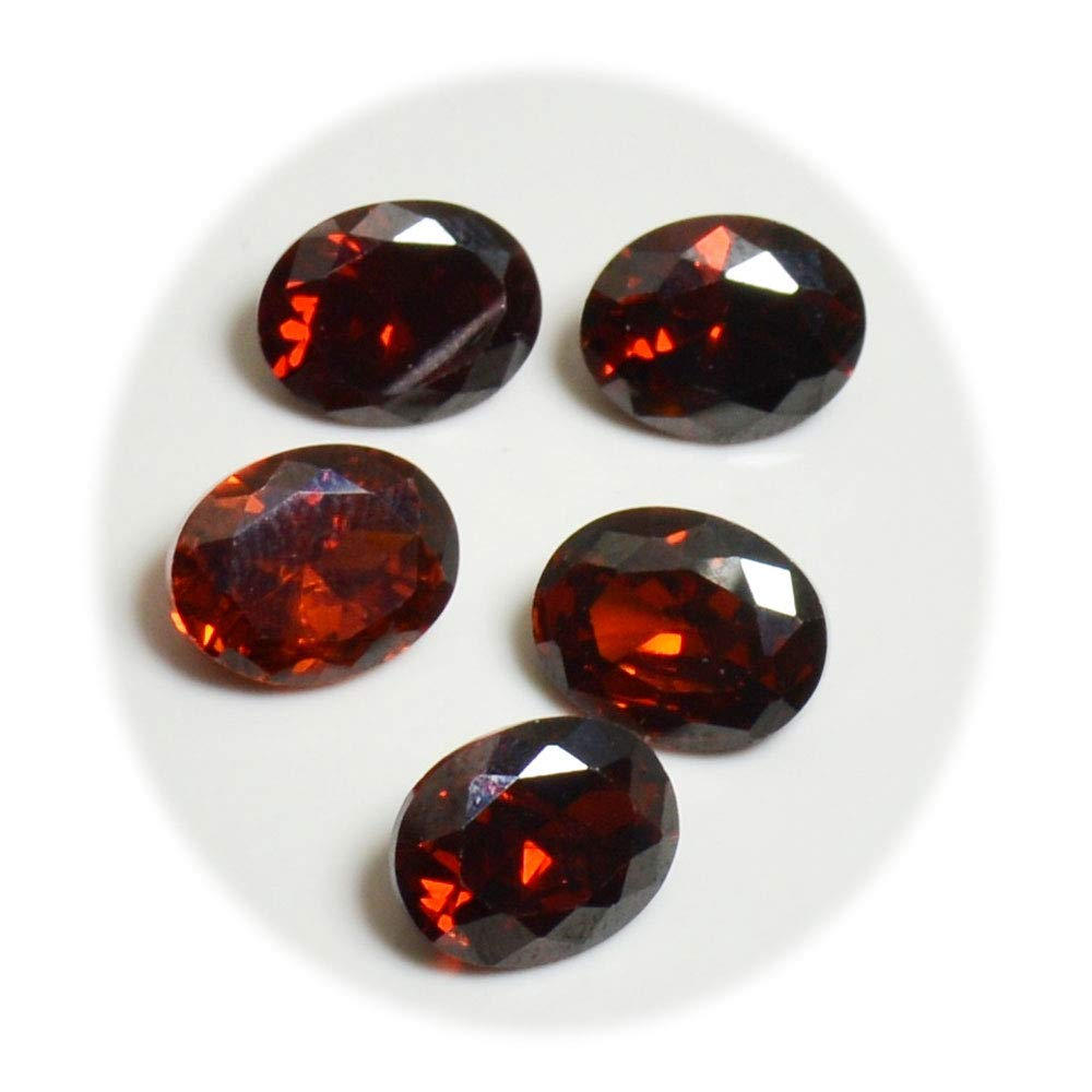 4a1844132fd8a CaratYogiღ Lot de 5 Pierres précieuses ovales à facettes Rouge 10 x 8 mm