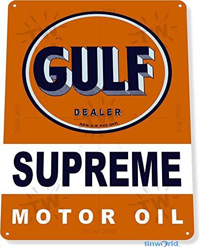 Unoopler Tinworld TIN Sign Gulf Motor Oil Auto Shop Garage Metal Décor B996 12
